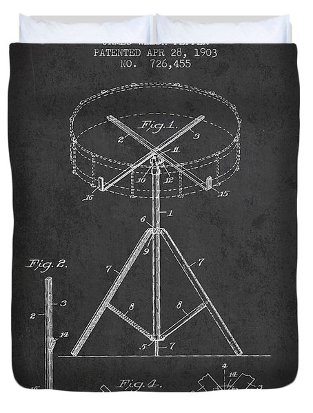 Portable Drum Patent Drawing From 1903 - Dark Duvet Cover by Aged Pixel