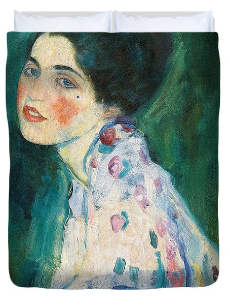 Portrait Of A Young Woman Duvet Cover by Gustav Klimt