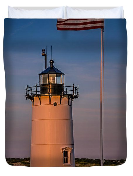 Race Point Lighthouse And Old Glory Duvet Cover by Susan Candelario
