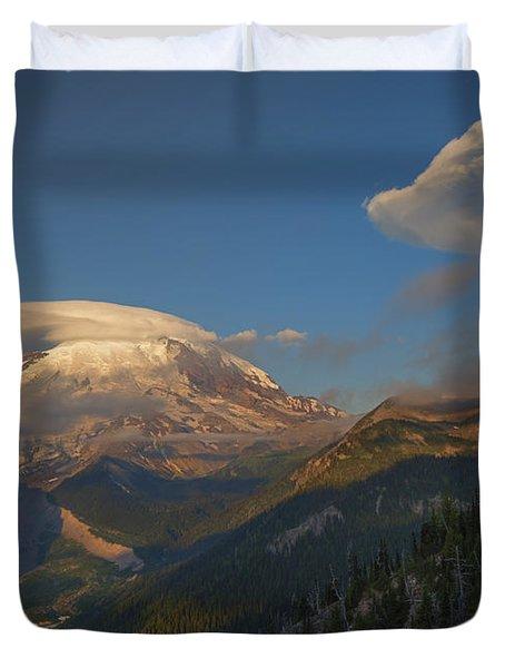 Rainier Capped Duvet Cover by Mike  Dawson