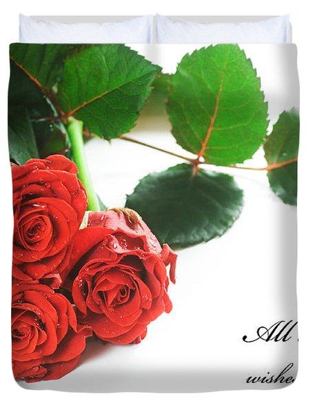 Red Fresh Roses On White Duvet Cover by Michal Bednarek