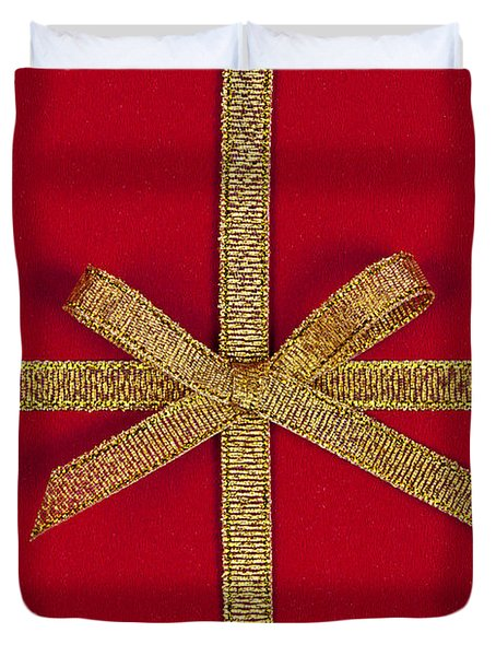 Red gift with gold ribbon Duvet Cover by Elena Elisseeva