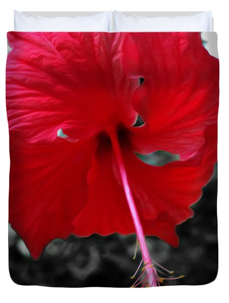 Red Hibiscus Duvet Cover by Cheryl Young