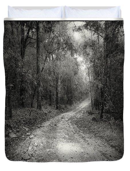 road way in deep forest Duvet Cover by Setsiri Silapasuwanchai