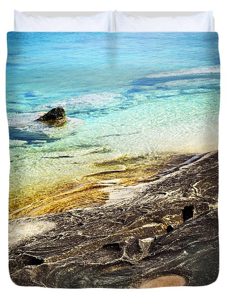 Rocks And Clear Water Abstract Duvet Cover by Elena Elisseeva