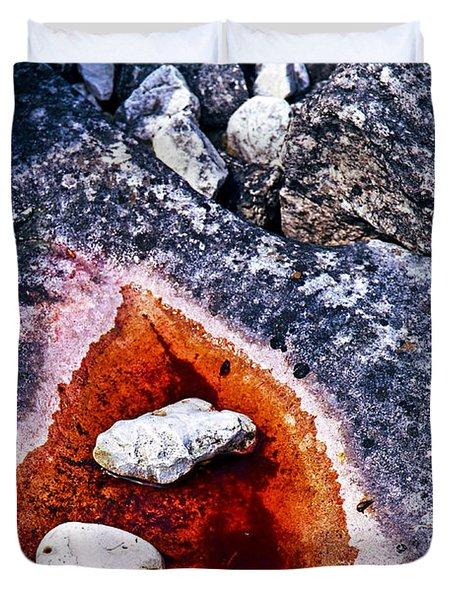 Rocks At Georgian Bay Duvet Cover by Elena Elisseeva