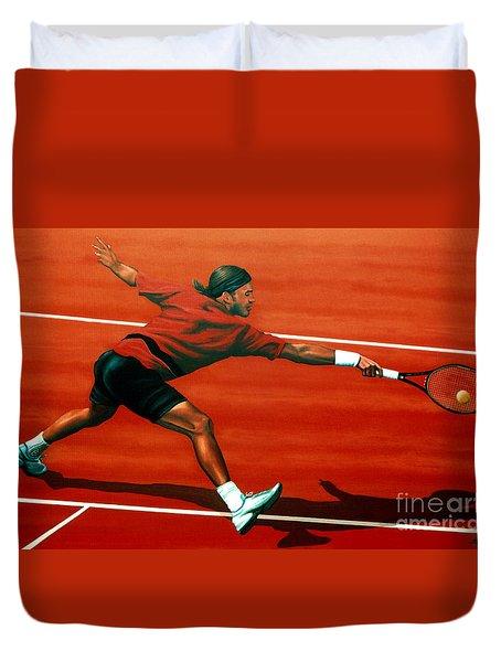 Roger Federer At Roland Garros Duvet Cover by Paul Meijering