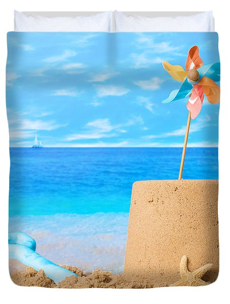 Sandcastle On Beach Duvet Cover by Amanda Elwell