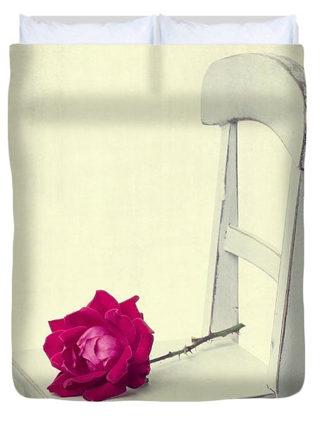 Single Red Rose Duvet Cover by Edward Fielding