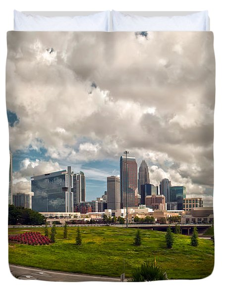 Skyline of Charlotte Towers Duvet Cover by Alexandr Grichenko