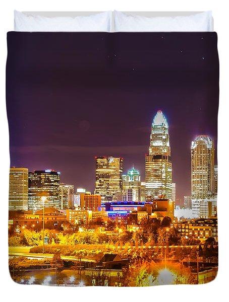 Skyline of uptown Charlotte North Carolina at night Duvet Cover by Alexandr Grichenko