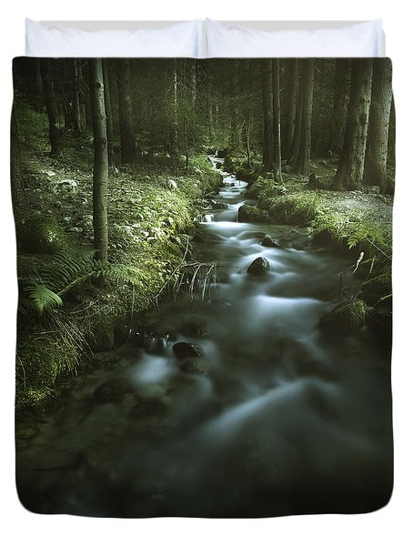 Small Stream In A Forest, Pirin Duvet Cover by Evgeny Kuklev