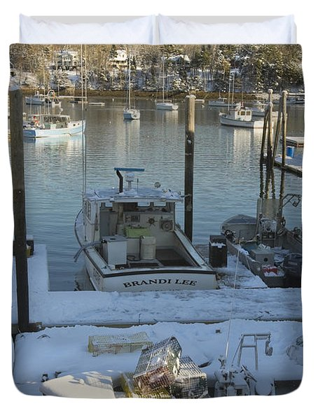 South Bristol And Fishing Boats On The Coast Of Maine Duvet Cover by Keith Webber Jr