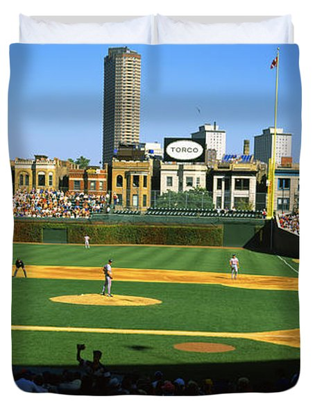 Spectators In A Stadium, Wrigley Field Duvet Cover by Panoramic Images