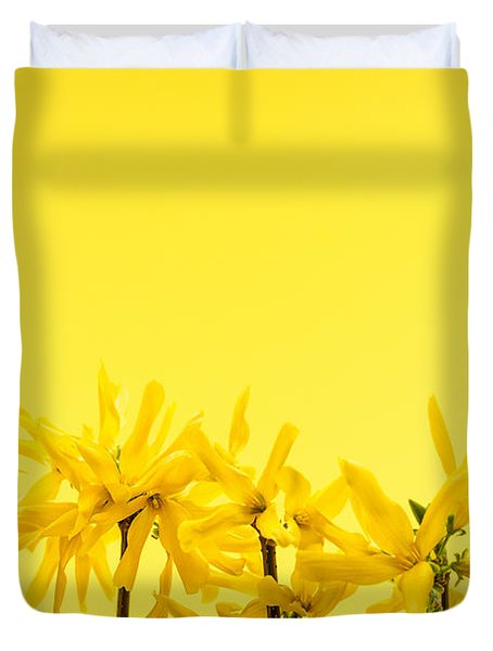 Spring Yellow Forsythia Duvet Cover by Elena Elisseeva