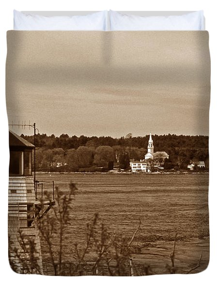 SQUIRREL POINT LIGHTHOUSE Duvet Cover by Skip Willits