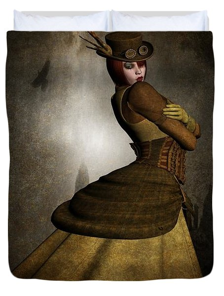 Steam Punk Woman Duvet Cover by Todd and candice Dailey