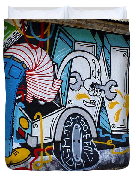 Street Art Valparaiso Chile 15 Duvet Cover by Kurt Van Wagner