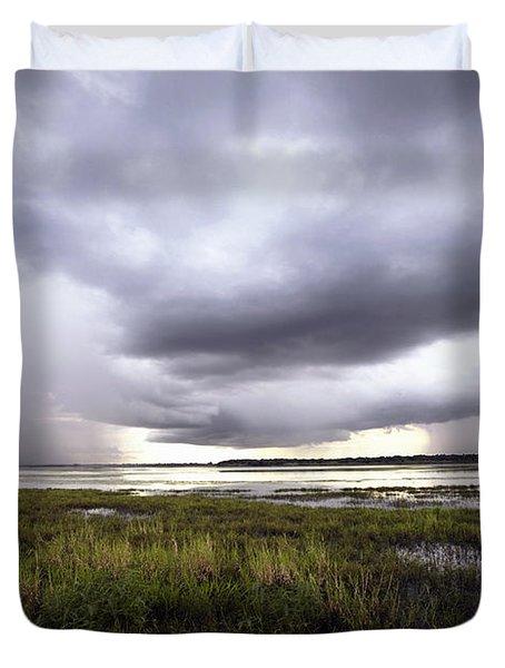 Summer Storm Over the Lake Duvet Cover by Skip Nall