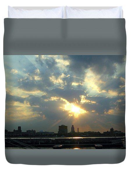 Sunrise Over Philadelphia Duvet Cover by Shoal Hollingsworth