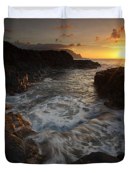 Sunset Pool Duvet Cover by Mike  Dawson