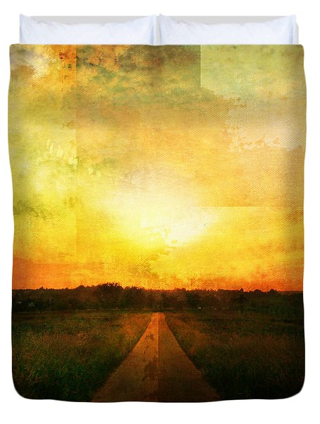 Sunset Road Duvet Cover by Brett Pfister
