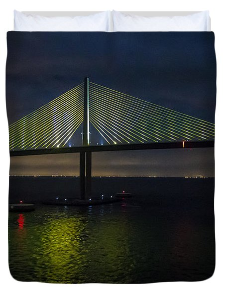 Sunshine Skyway Bridge Tampa Florida Duvet Cover by Rene Triay Photography