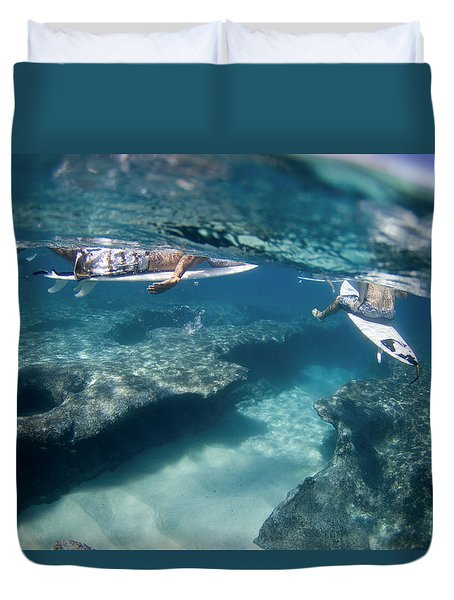 Surfers Over Reef. Duvet Cover by Sean Davey