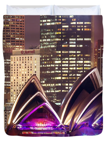Sydney Skyline At Night With Opera House - Australia Duvet Cover by Matteo Colombo