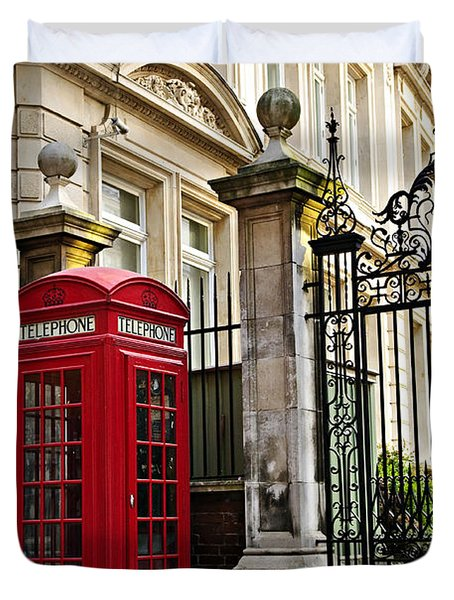 Telephone box in London Duvet Cover by Elena Elisseeva