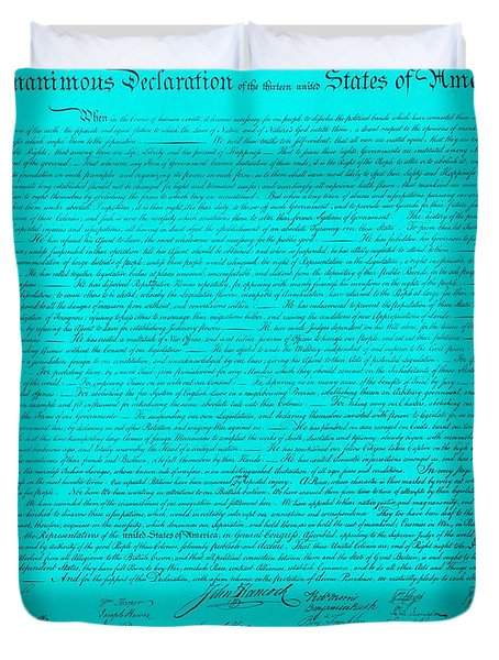 THE DECLARATION OF INDEPENDENCE in TURQUOISE Duvet Cover by ROB HANS