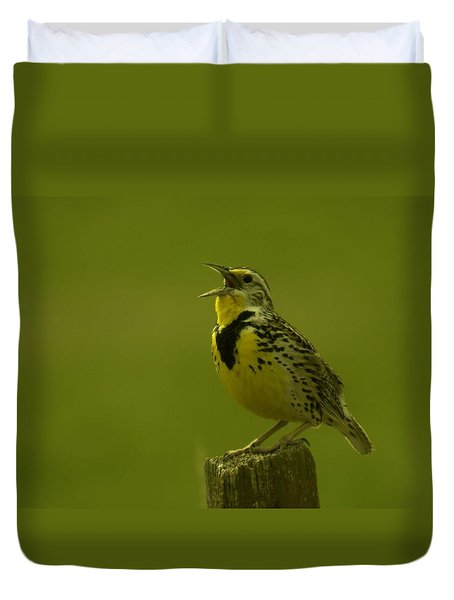 The Meadowlark Sings Duvet Cover by Jeff Swan
