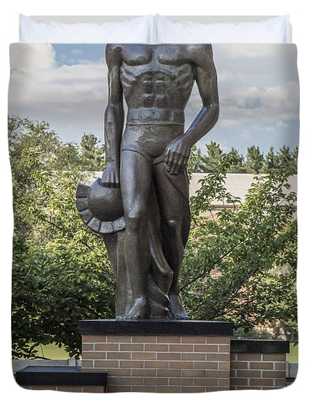 The Spartan Statue At Msu Duvet Cover by John McGraw