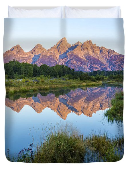 The Tetons Reflected On Schwabachers Landing - Grand Teton National Park Wyoming Duvet Cover by Brian Harig
