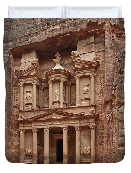 the treasury Nabataean ancient town Petra Duvet Cover by Juergen Ritterbach