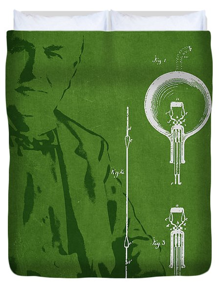 Thomas Edison Electric Lamp Patent Drawing From 1880 Duvet Cover by Aged Pixel