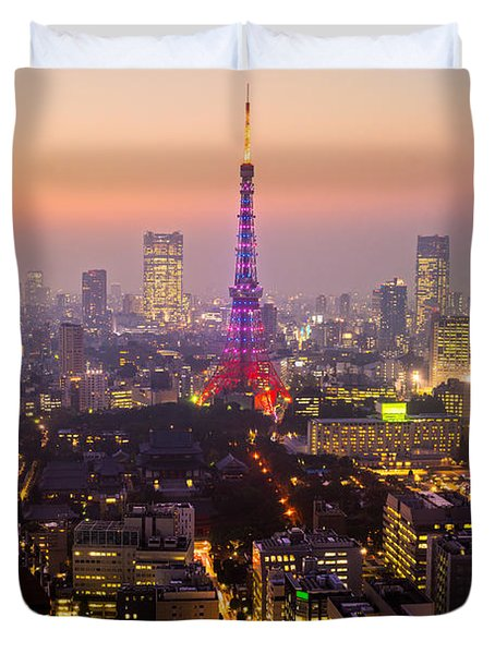 Tokyo Tower - Tokyo - Japan Duvet Cover by Luciano Mortula