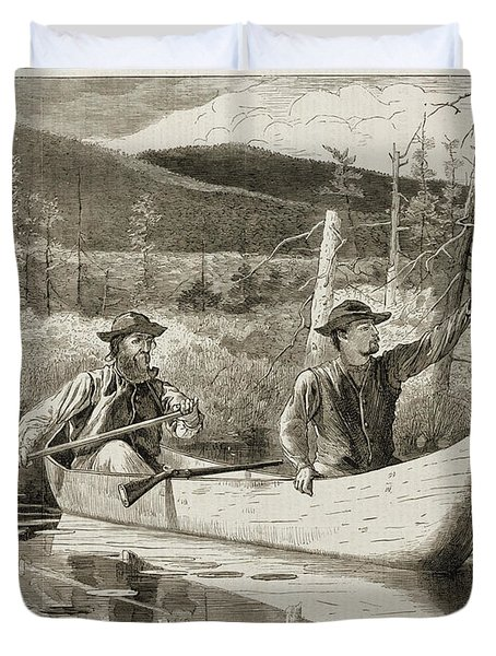 Trapping in the Adirondacks Duvet Cover by Winslow Homer