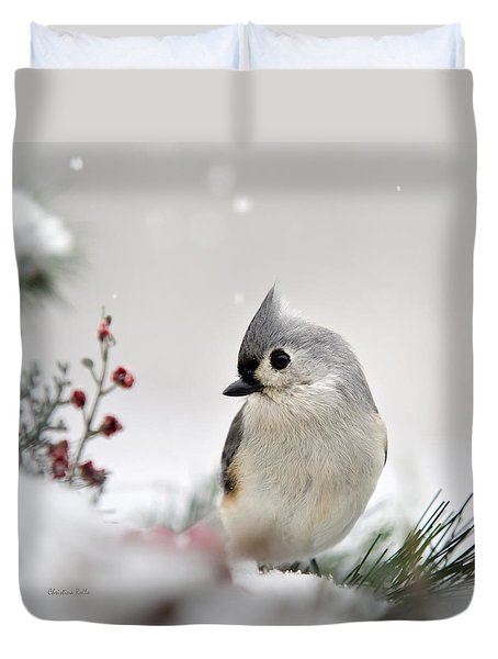 Tufted Titmouse Square Duvet Cover by Christina Rollo