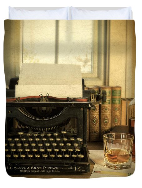Typewriter And Whiskey Duvet Cover by Jill Battaglia