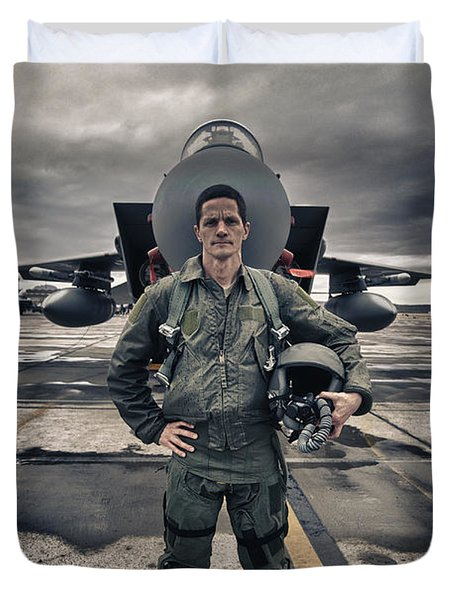 U.s. Air Force Pilot Standing In Front Duvet Cover by Terry Moore