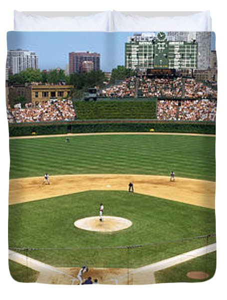 Usa, Illinois, Chicago, Cubs, Baseball Duvet Cover by Panoramic Images
