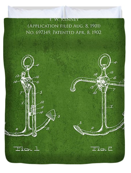 Vintage Anchor Patent Drawing from 1902 Duvet Cover by Aged Pixel