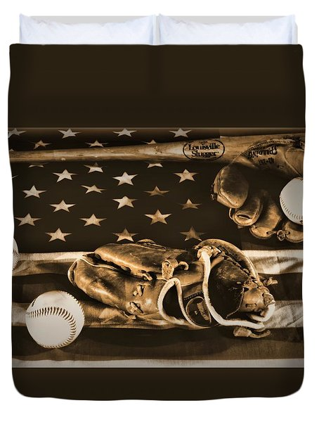 Vintage Baseball Duvet Cover by Dan Sproul