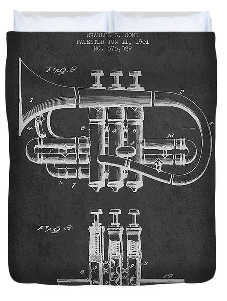 Cornet Patent Drawing From 1901 - Dark Duvet Cover by Aged Pixel