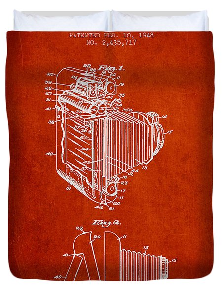 Vintage film camera patent from 1948 Duvet Cover by Aged Pixel