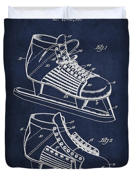 Vintage Hockey Shoe Patent Drawing From 1935 Duvet Cover by Aged Pixel