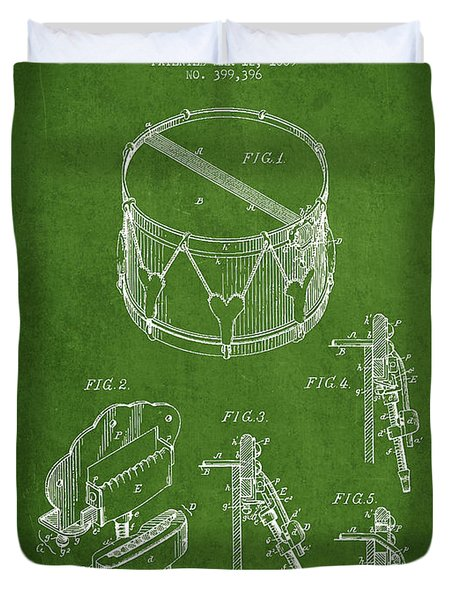Vintage Snare Drum Patent Drawing from 1889 - Green Duvet Cover by Aged Pixel
