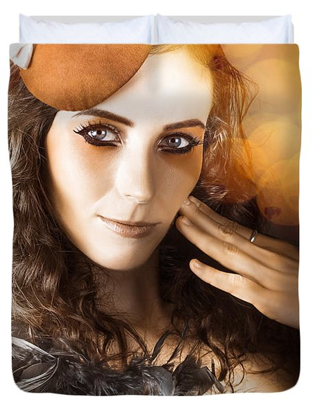 Vintage Style Actress Performing In French Beret Duvet Cover by Jorgo Photography - Wall Art Gallery