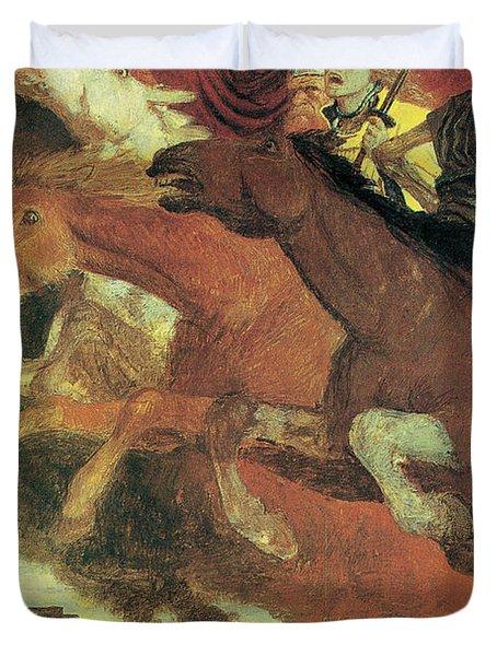 War Duvet Cover by Arnold Bocklin